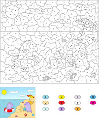 Color by number educational game for kids. Cute cartoon dragons