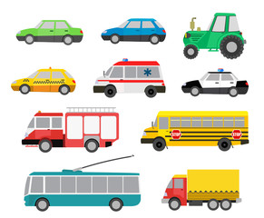 set of cartoon cute cars and special vehicles. vector illustrati