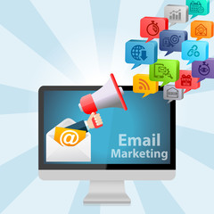 Email Marketing Advertising Strategy Concept Background