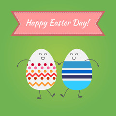 Happy easter, vector happy eggs