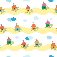 Vector seamless pattern with cute cartoon turtles bearing on themselves the houses.