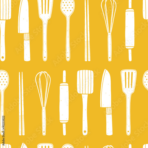 Yellow Seamless Pattern With Kitchen Utensils Cooking Vector