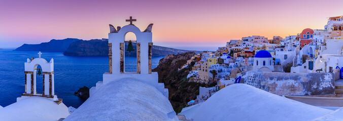 Spoed Foto op Canvas Santorini Santorini, Greece - Oia village at sunset