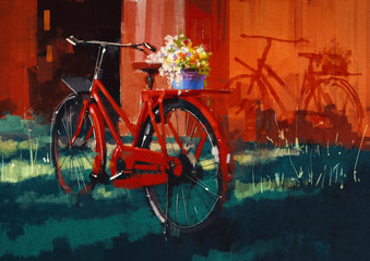 painting of vintage bicycle with bucket full of flowers