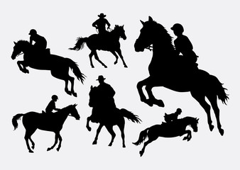 Male and female people riding horse sport action silhouettes