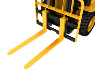 View close-up on a forklift truck cargo