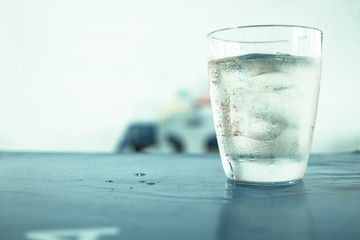 Glass of wisky, soda and ice