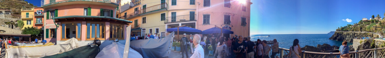Beautiful panoramic view of Cinque Terre village, Five Lands, It