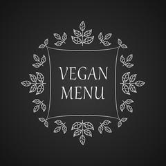 Vegan menu. Restaurant label. Ads, signboards and menu