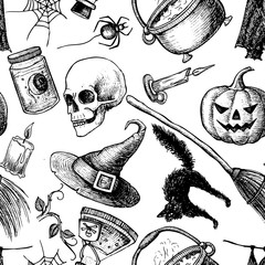 Vector seamless Halloween pattern.