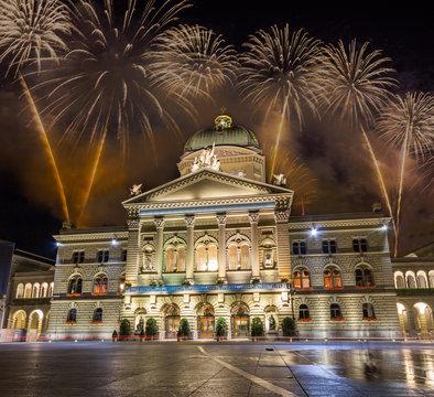 Spectacular Fireworks over Bern in Switzerland
