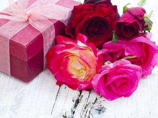 gift box with roses