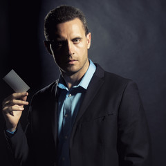 Sexual man with card
