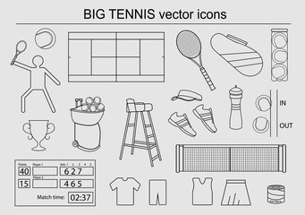 Set of big tennis vector icons