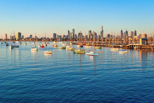 Melbourne skyline from St Kilda at sunset (Victoria, Australia)