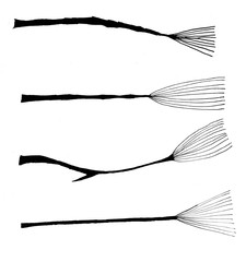 abstract black ink broomstick set