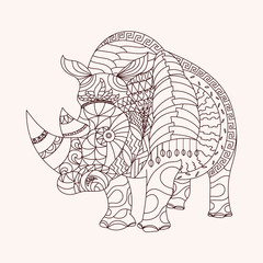 Patterned rhino zentangle style. EPS 10 vector illustration
