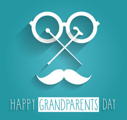 Grandparents Day blue poster. Handwritten text. Vector illustration.