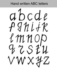 Vector set ABC letters hand written with black marker