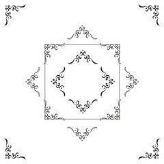 Elegant Vector Decoration for Corners. A simple, abstract, antique and delicate calligraphic decoration for corners or frames corners. Two styles: outlined and solid. Color: ink black.
