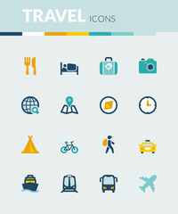 Travel colorful flat icons