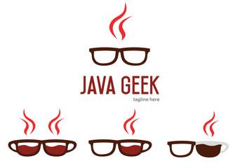 Java geek logo design. Java programming language logotype. Geek glasses logo.