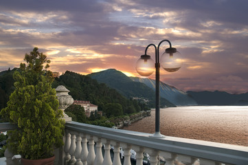 Sunset over Bellagio on Lake Como Italy