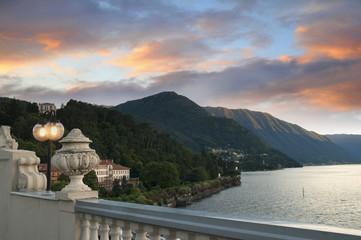 Sunset over Bellagio on Lake Como Italy