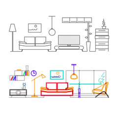 Thin line flat design of modern living room with furniture, color version of the lines in the overlay mode color.Modern vector illustration concept, isolated on white background.