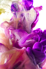 Colorful abstract composition with Liquids. Interesting shapes, patterns, rich textures, color mixing, fluidity. Space for text. White Background. Underwater ink color drop.