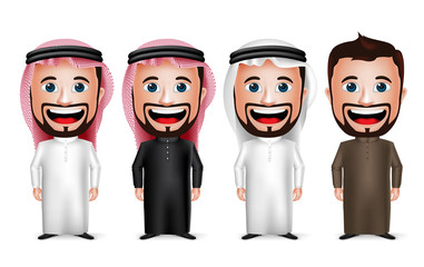 Saudi Arab Man Cartoon Character Wearing Different Traditional Thobe Dress