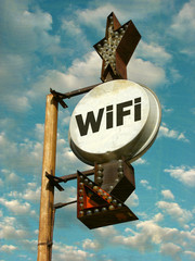 aged and worn vintage photo of wifi sign
