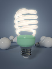 "3 D render of field of light bulbs. Energy-Saving Light is ""standing out from the crowd""."