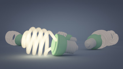 3 D render of field of energy-saving light bulbs.