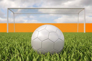 3 D render of soccer penalty kick.