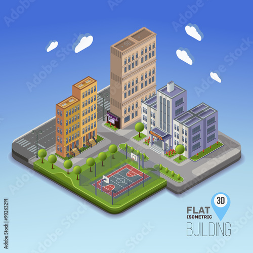 Urban landscape 3D city, school area with basketball and