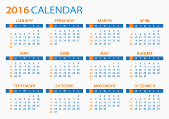 2016 Calendar - illustration. Vector template of 2016 calendar.