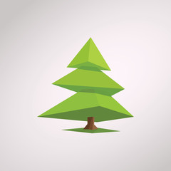 Christmas tree in modern low poly design. 3d polygonal geometric