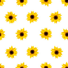 Seamless pattern with sunflowers on white. Vector illustration.