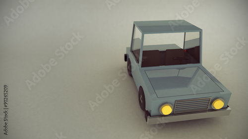 3 D Render Of Scene Of A Retro Toy Car With Headlights On Stock