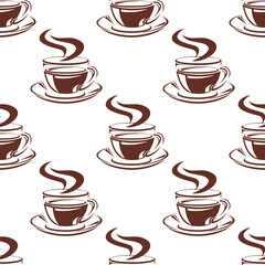 Simple hot coffee cups seamless pattern