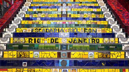 Escadaria Selaron, or Lapa Steps, in Rio de Janeiro, Brazil