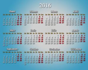 calendar for 2016 in Spanish on the light blue