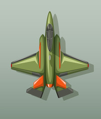 Green military fighting jet