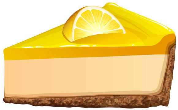 Lemon cheesecake on white
