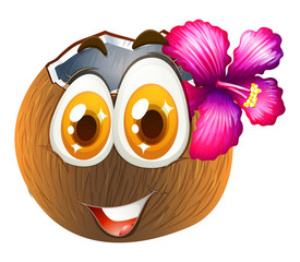 Coconut with happy face