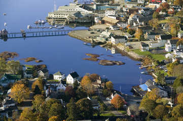 Aerial view of Boothbay Harbor on Maine coastline