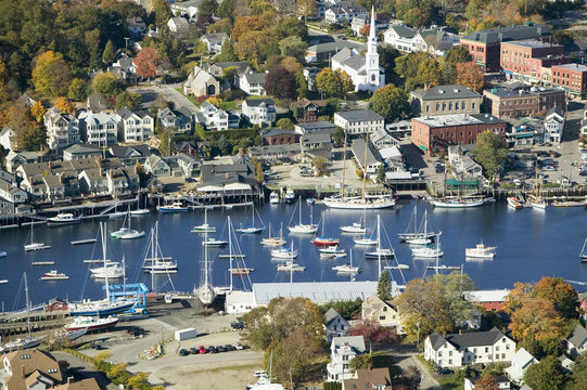 Aerial view of Bar Harbor in autumn, Maine