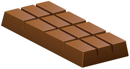 Milk chocolate bar on white
