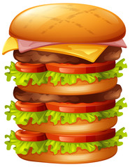 Hamburger with many layers